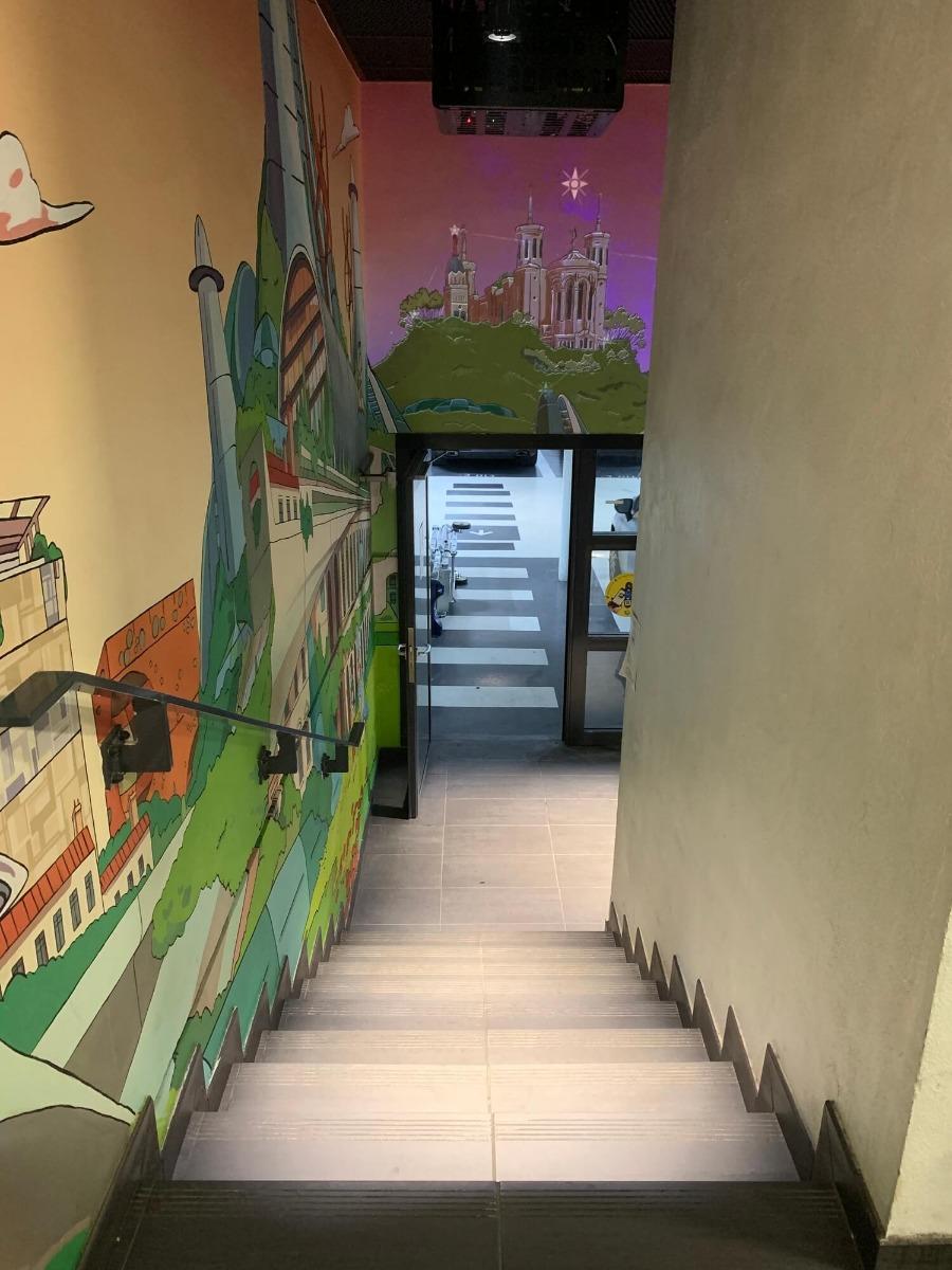 Eclairage des escalier parking oeuvre d'art hôtel de Ville de Lyon