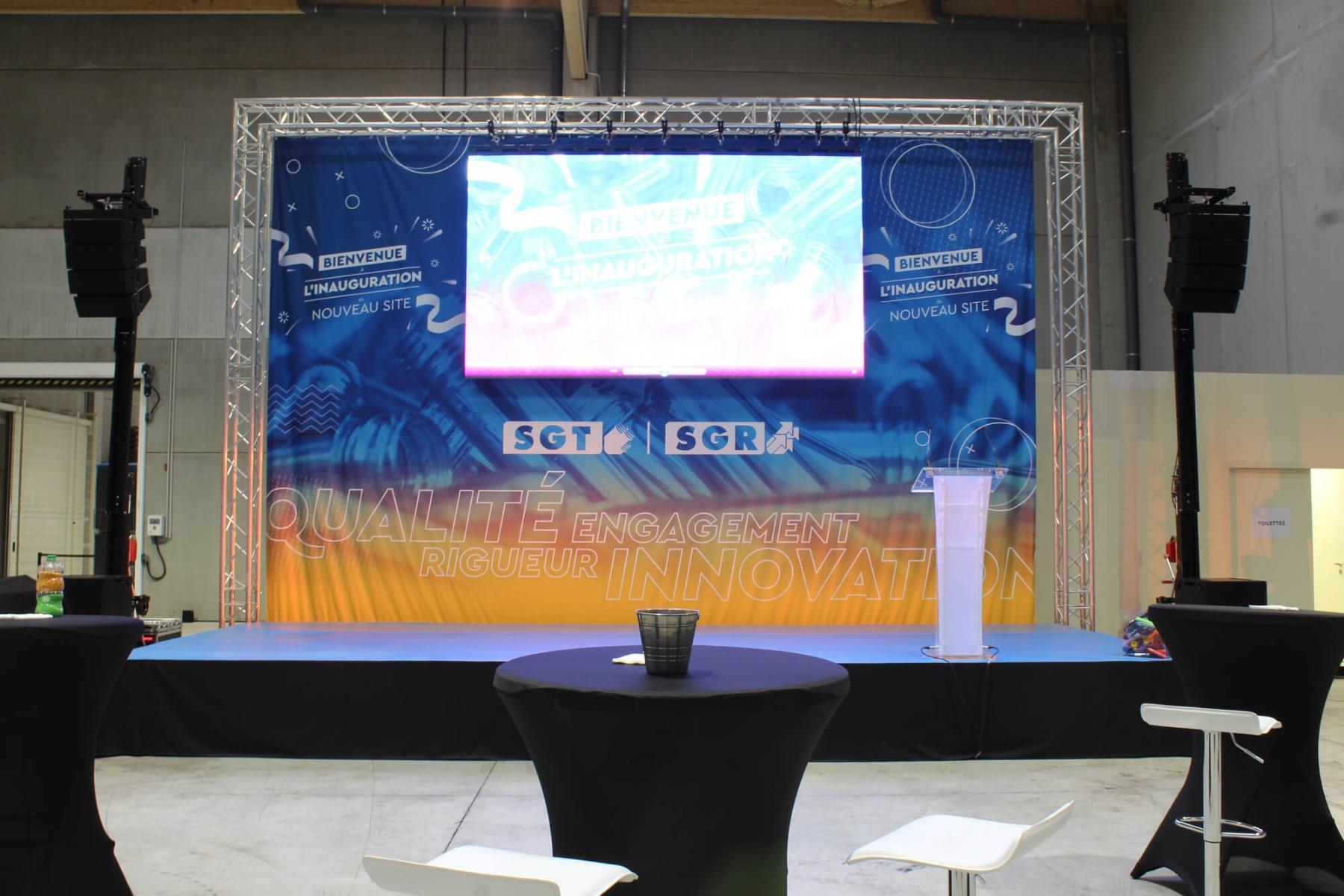 Système son APG et écran LED pour prestation audiovisuelle