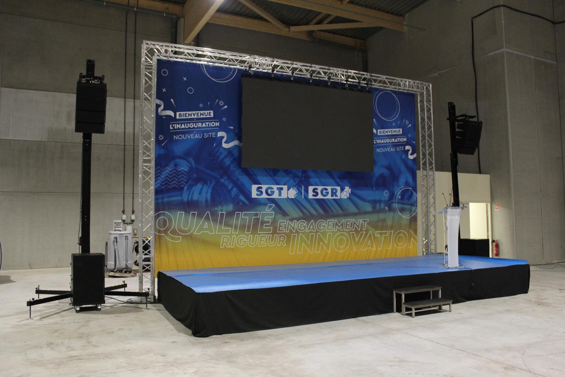 Installation technique pour évènement d'entreprise son, écran LED, lumière
