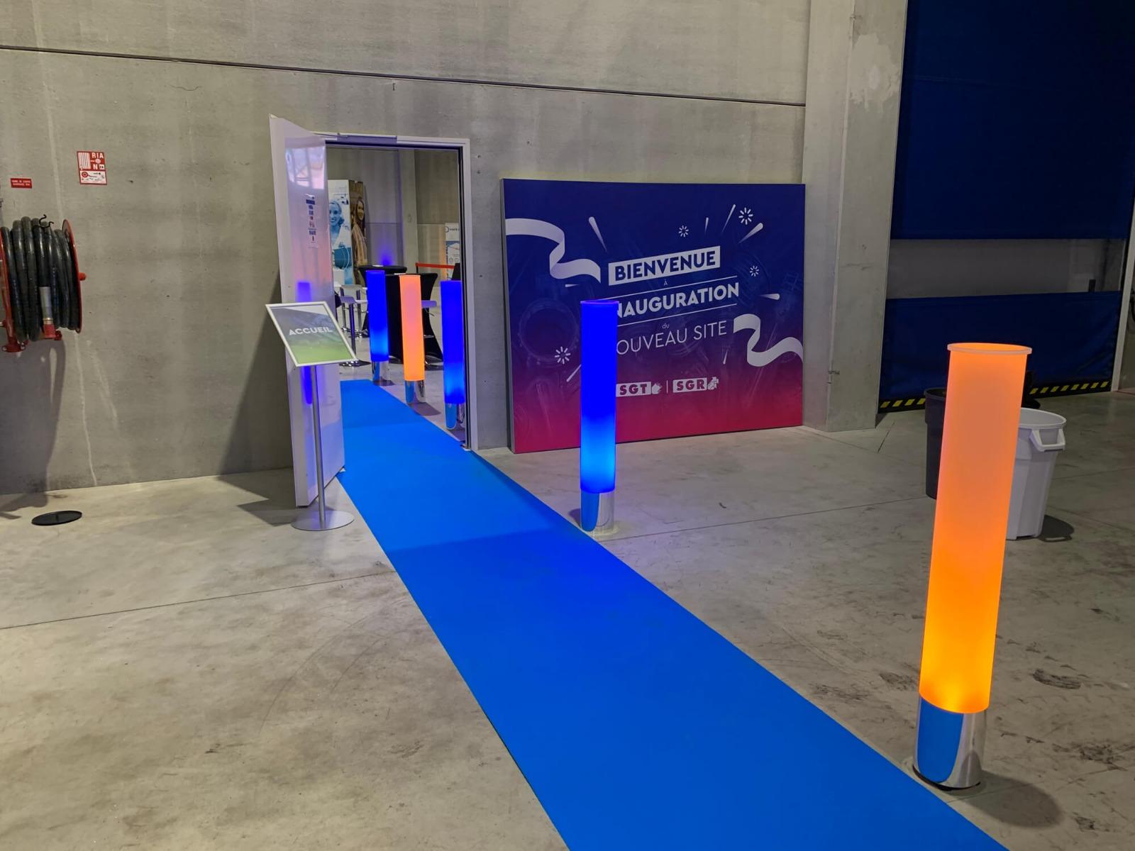 Décoration lumineuse entrée usine pour inauguration
